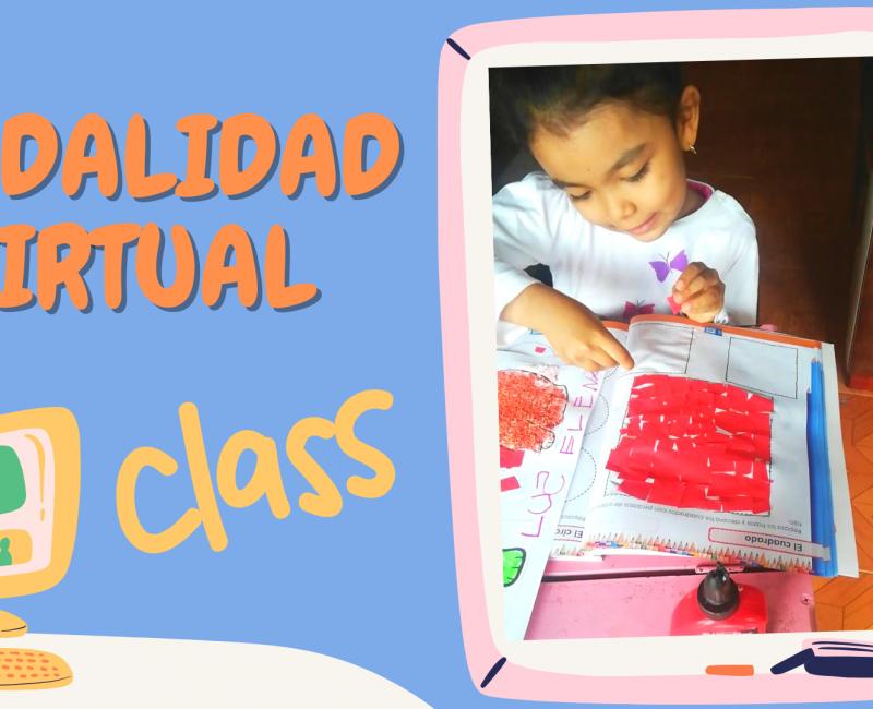 Azul y Rosa Personas Coloreadas Ilustraciones Reglas del Aula y Etiqueta en Línea Educación Presentación
